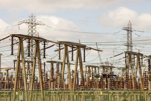 An electricity sub station on the outskirts of Manchester, UK.