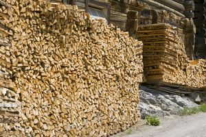 A log store outside a swiss farmhouse in Flims