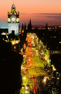 Princes Street in Edinburgh in Scotland